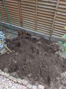 菜園を掘り返し